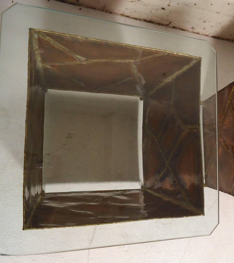 20th Century Copper Glass Side Tables For Sale