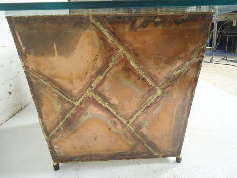 Copper Glass Side Tables For Sale 1