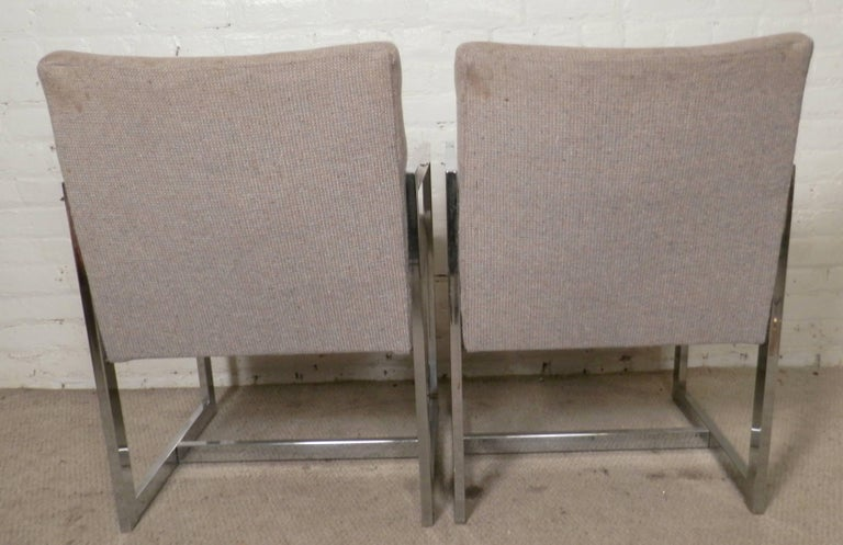 Mid-20th Century Pair of Chrome Armchairs For Sale