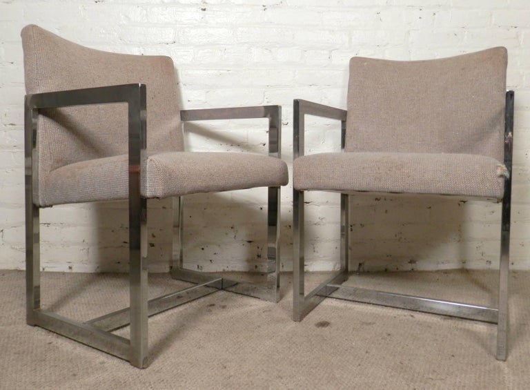 Pair of Chrome Armchairs For Sale 3