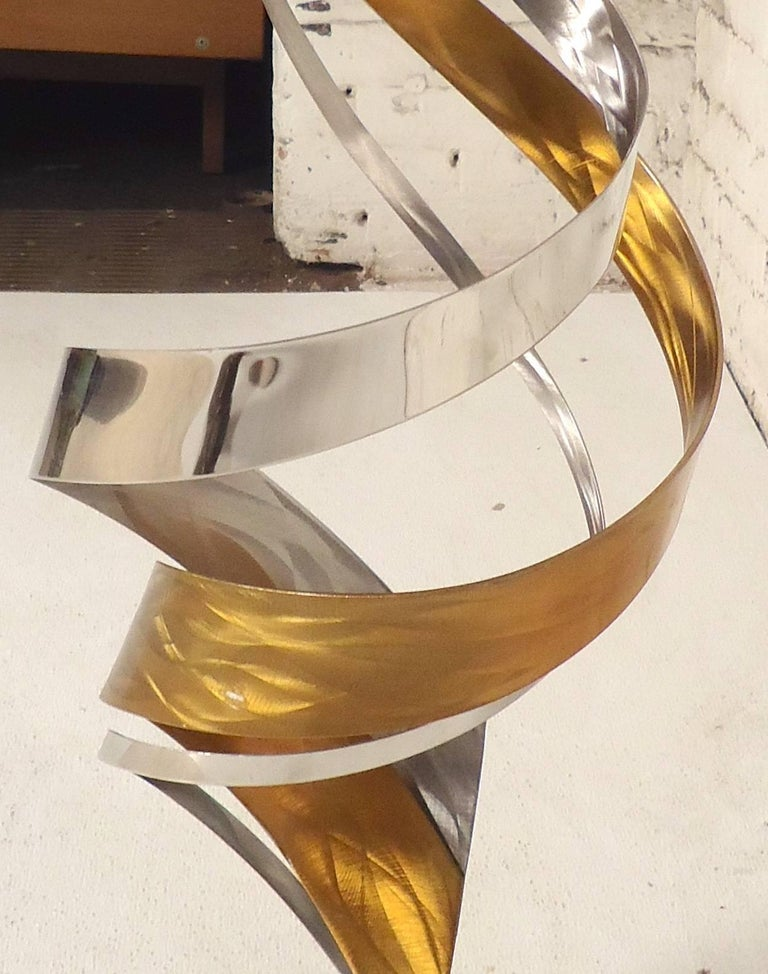 20th Century Decorative Brass and Chrome Swirl Sculpture For Sale