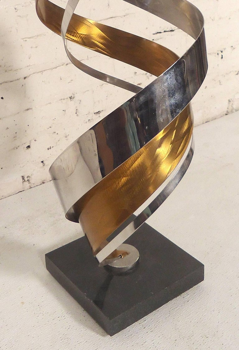 Mid-Century Modern Decorative Brass and Chrome Swirl Sculpture For Sale