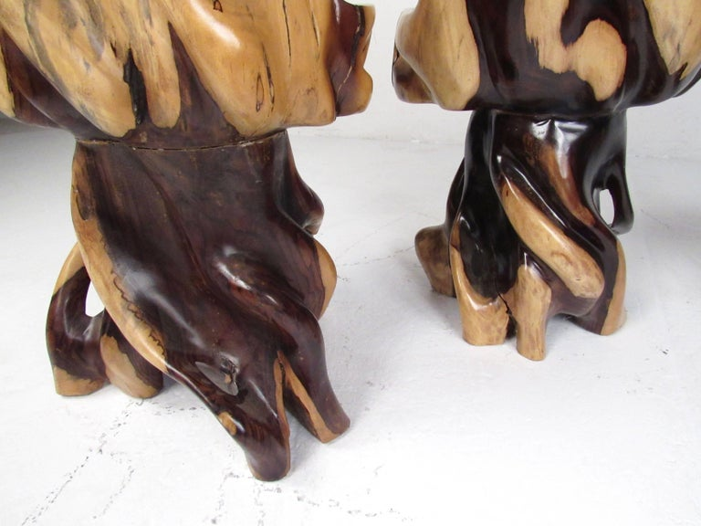 Stylish Rustic Live Edge Game Table with Chairs 3