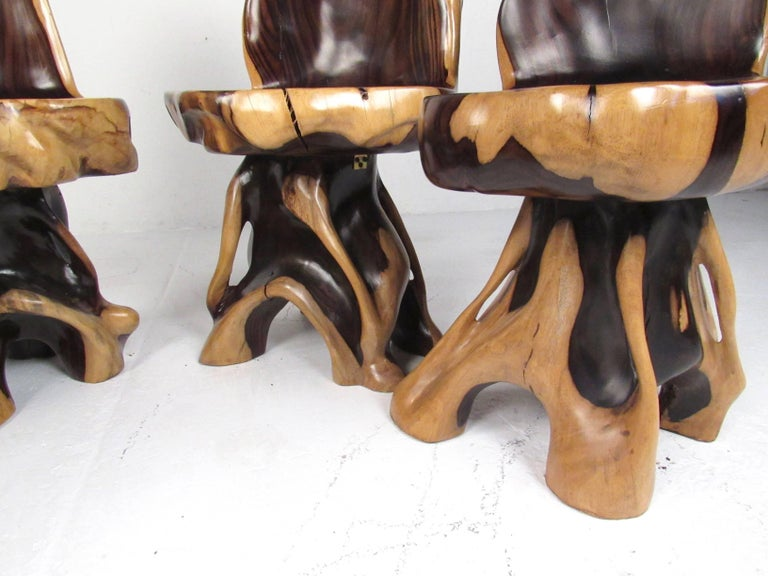 Stylish Rustic Live Edge Game Table with Chairs 2