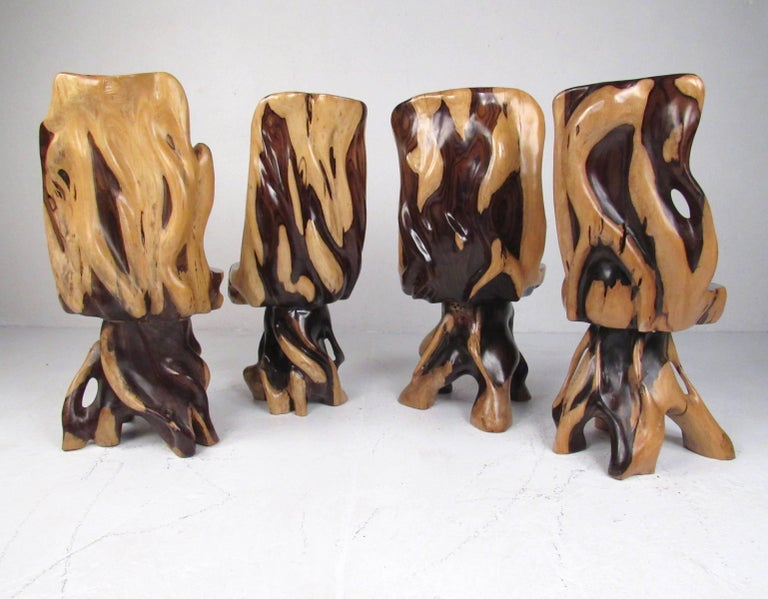 20th Century Stylish Rustic Live Edge Game Table with Chairs
