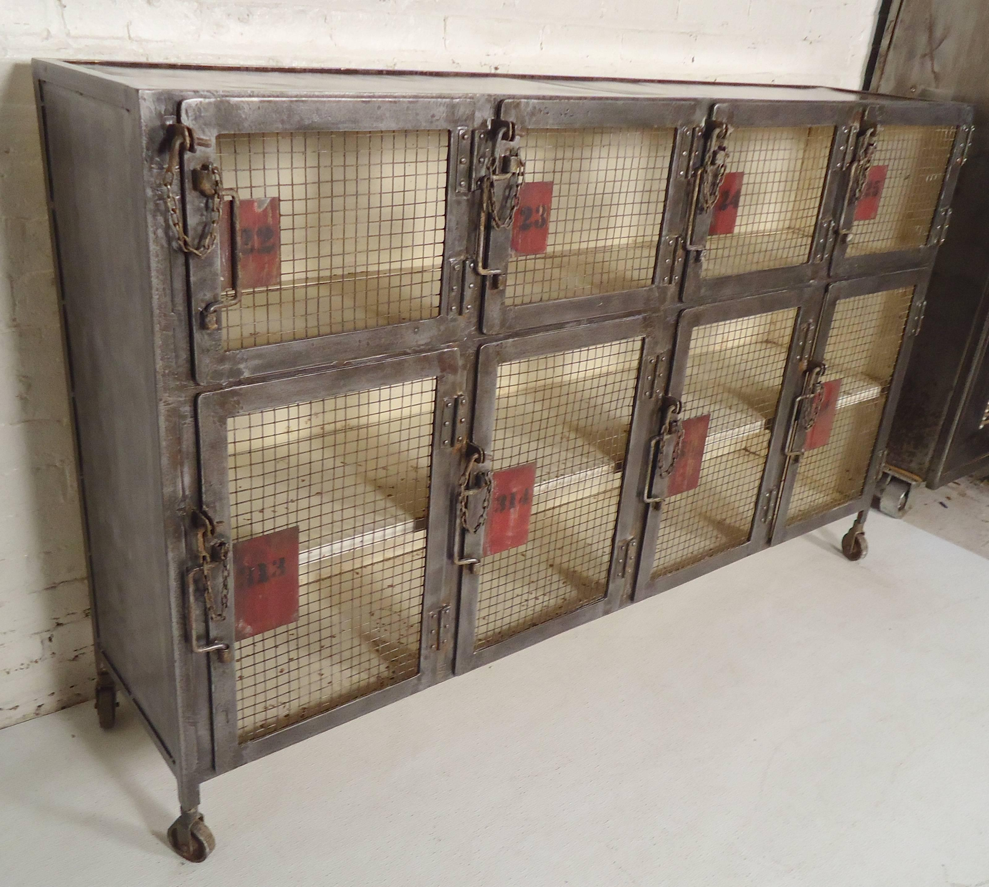 Metal Cabinet Stripped And Restored With A Bare Metal Style Finish. Great  For Storage Or