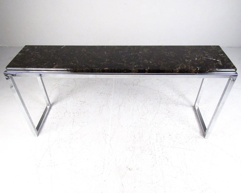 Stylish Modern Marble and Chrome Console Table For Sale at 1stdibs