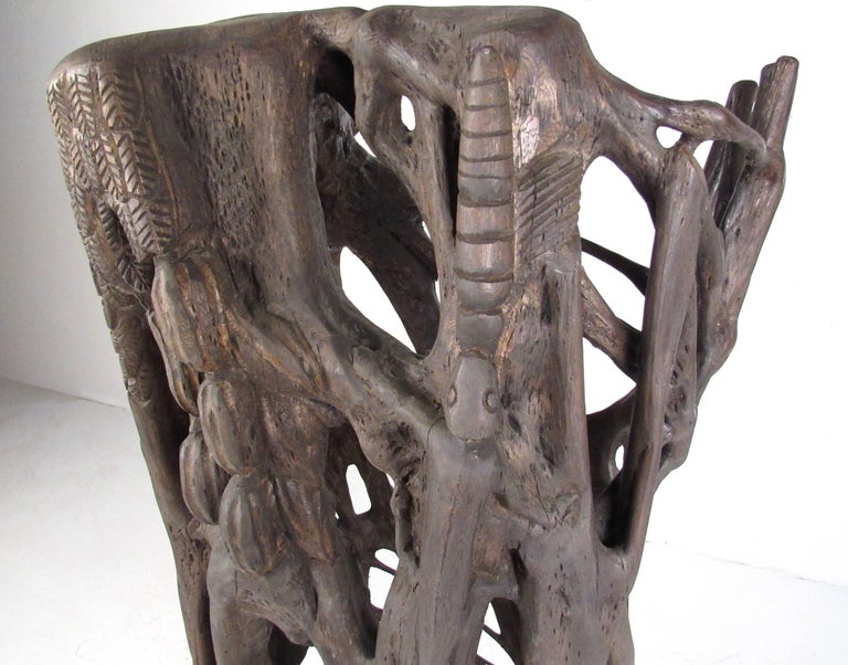 Unique Tribal Style Hand-Carved Tree Trunk Sculpture For Sale 2