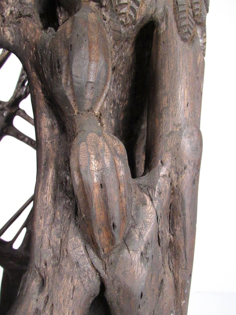 Unique Tribal Style Hand-Carved Tree Trunk Sculpture In Good Condition For Sale In Brooklyn, NY