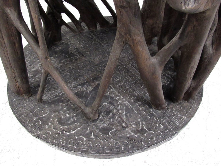 20th Century Unique Tribal Style Hand-Carved Tree Trunk Sculpture For Sale