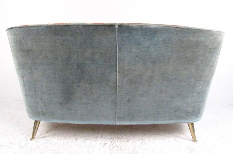 Mid-20th Century Italian Modern Gio Ponti Style Two-Seat Sofa For Sale