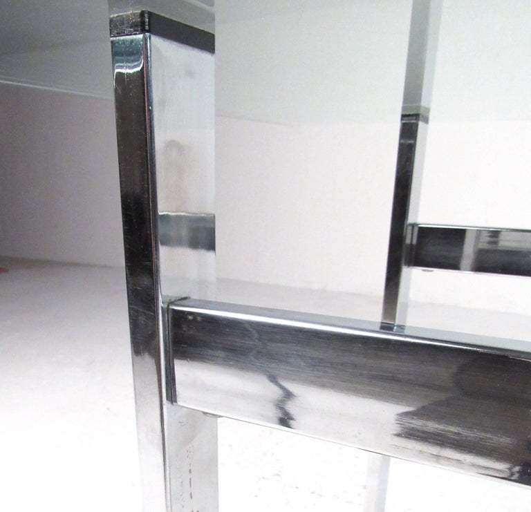 Pair of Modern Chrome and Glass End Tables For Sale 1
