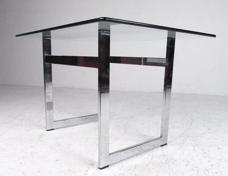 Pair of Modern Chrome and Glass End Tables For Sale 4