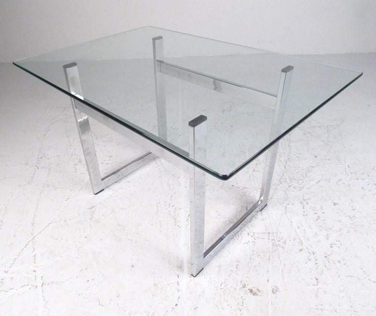 Pair of Modern Chrome and Glass End Tables For Sale 5