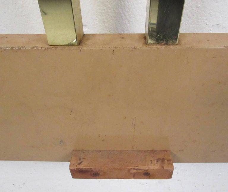 Vintage Modern King-Size Brass Bed Headboard For Sale 1