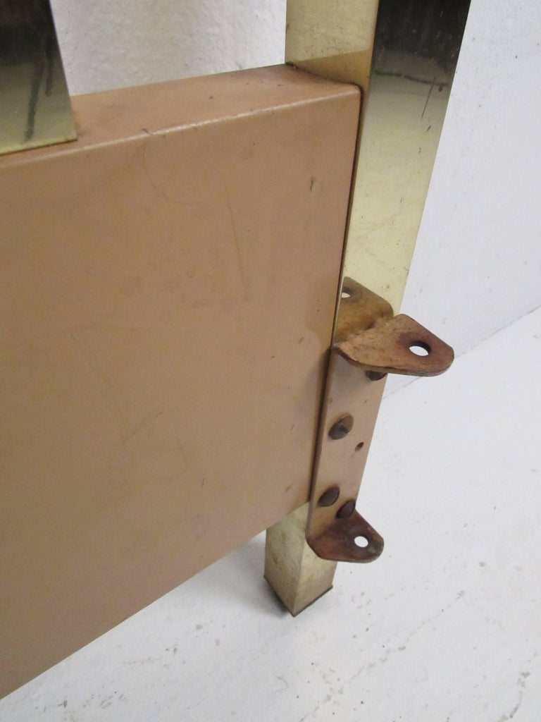 20th Century Vintage Modern King-Size Brass Bed Headboard For Sale