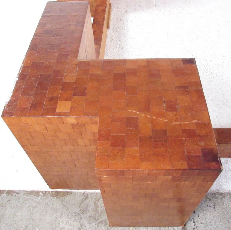 20th Century Impressive Midcentury King-Size Bed Frame in Patchwork Leather For Sale