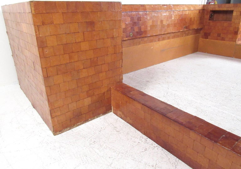 Impressive Midcentury King-Size Bed Frame in Patchwork Leather For Sale 2