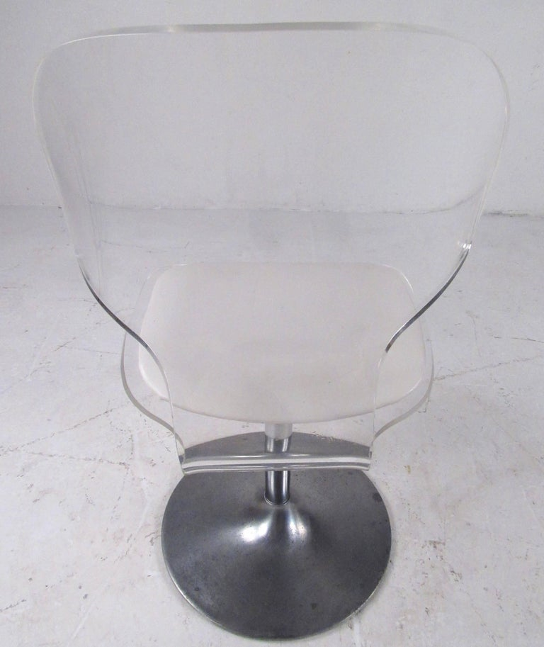 Aluminum Vintage Modern Lucite Swivel Side Chair For Sale