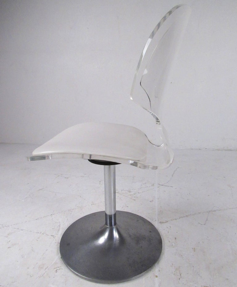 20th Century Vintage Modern Lucite Swivel Side Chair For Sale