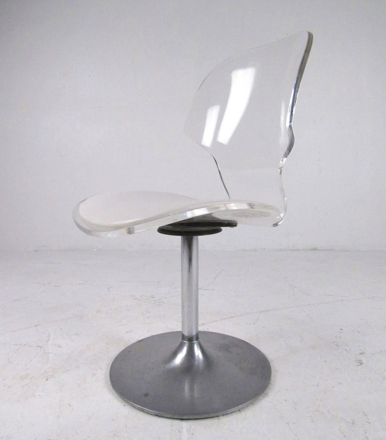 Vintage Modern Lucite Swivel Side Chair For Sale 2