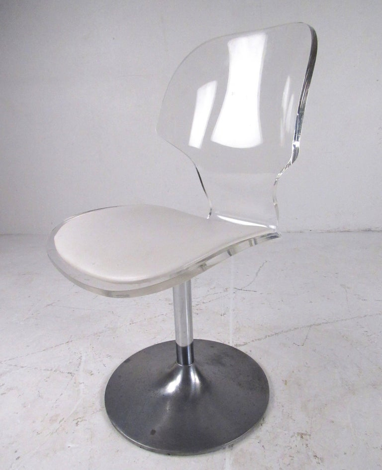 Mid-Century Modern Vintage Modern Lucite Swivel Side Chair For Sale