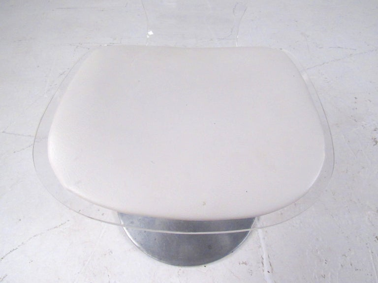 Vintage Modern Lucite Swivel Side Chair For Sale 4