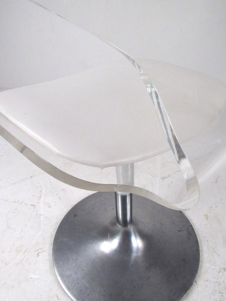 Vintage Modern Lucite Swivel Side Chair For Sale 3