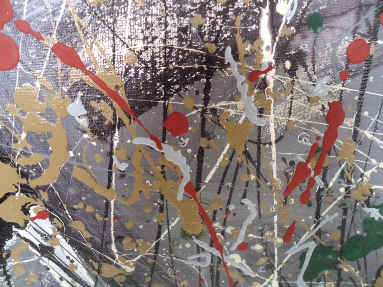 Abstract Splatter Painting Signed by Artist In Good Condition For Sale In Brooklyn, NY