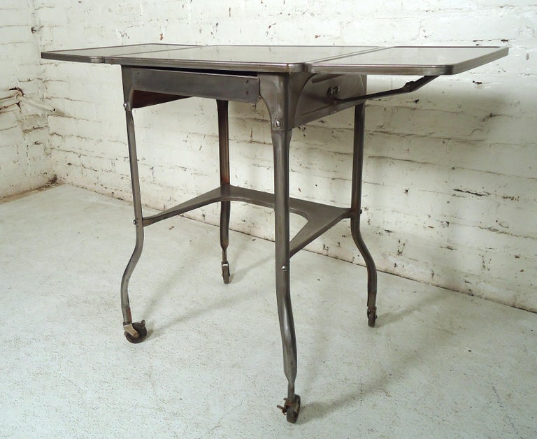 Refinished Industrial Side Table In Distressed Condition For Sale In Brooklyn, NY