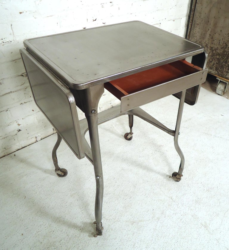 Refinished Industrial Side Table For Sale 2