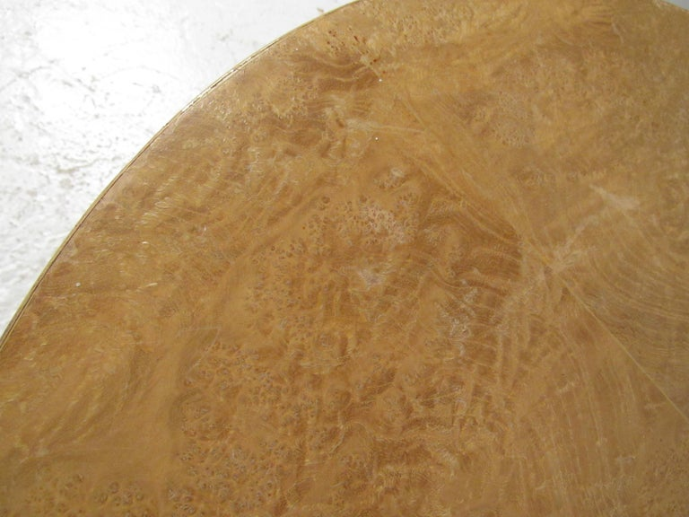 Pair of Mid-Century Modern Cylinder End Tables in Burl Finish For Sale 8