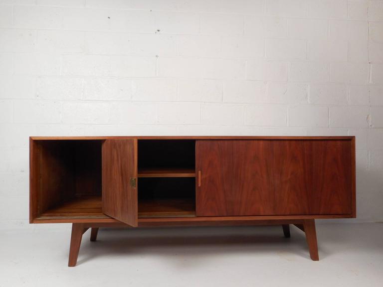 Mid-Century Modern Large Vintage Walnut Credenza Cabinet For Sale