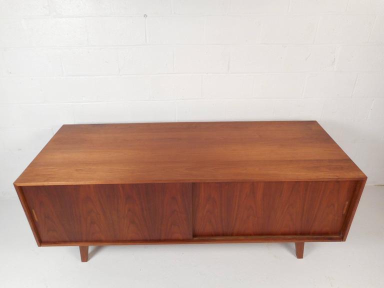 Large Vintage Walnut Credenza Cabinet For Sale 1