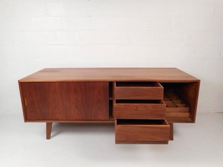 American Large Vintage Walnut Credenza Cabinet For Sale