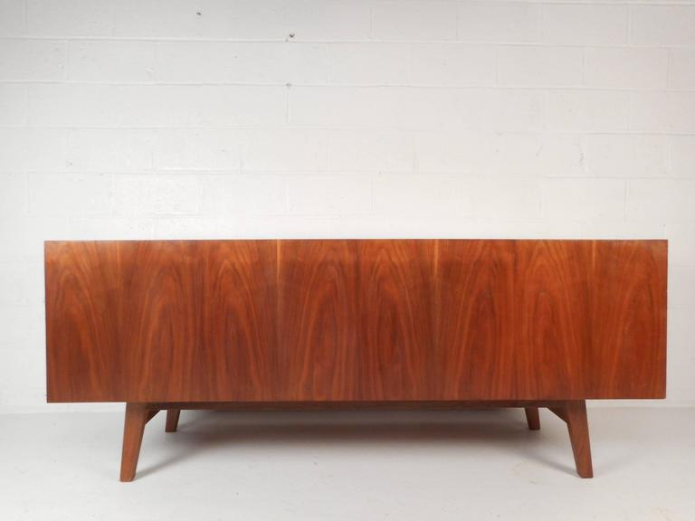 Late 20th Century Large Vintage Walnut Credenza Cabinet For Sale