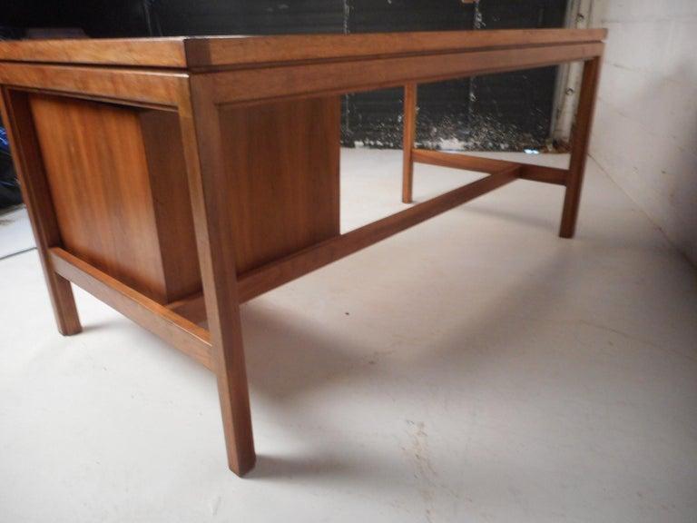 Walnut Jens Risom Executive Desk with a Finished Back For Sale