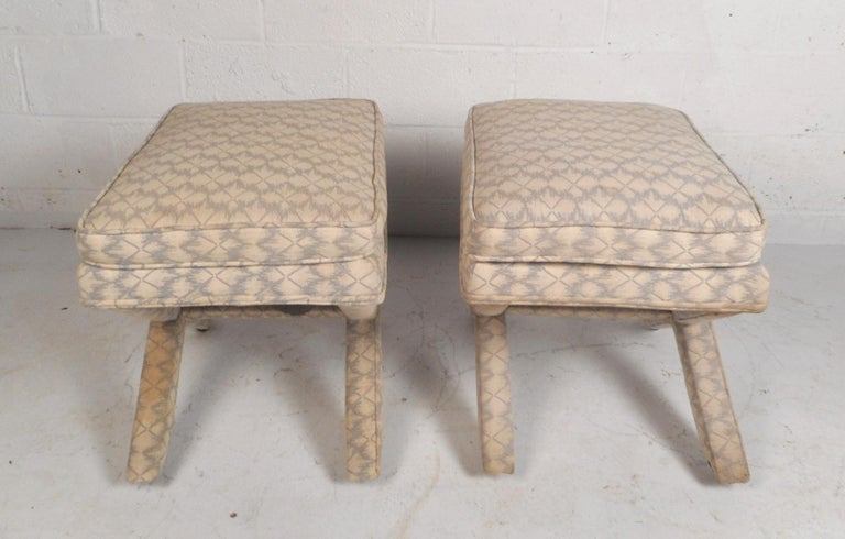 Mid-20th Century Pair of Midcentury Billy Baldwin Style Ottomans For Sale