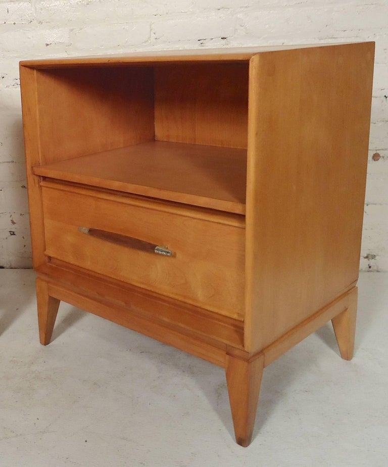 Bedside tables have an attractive curved front. Open shelf and bottom drawer.  Nightstands: 21