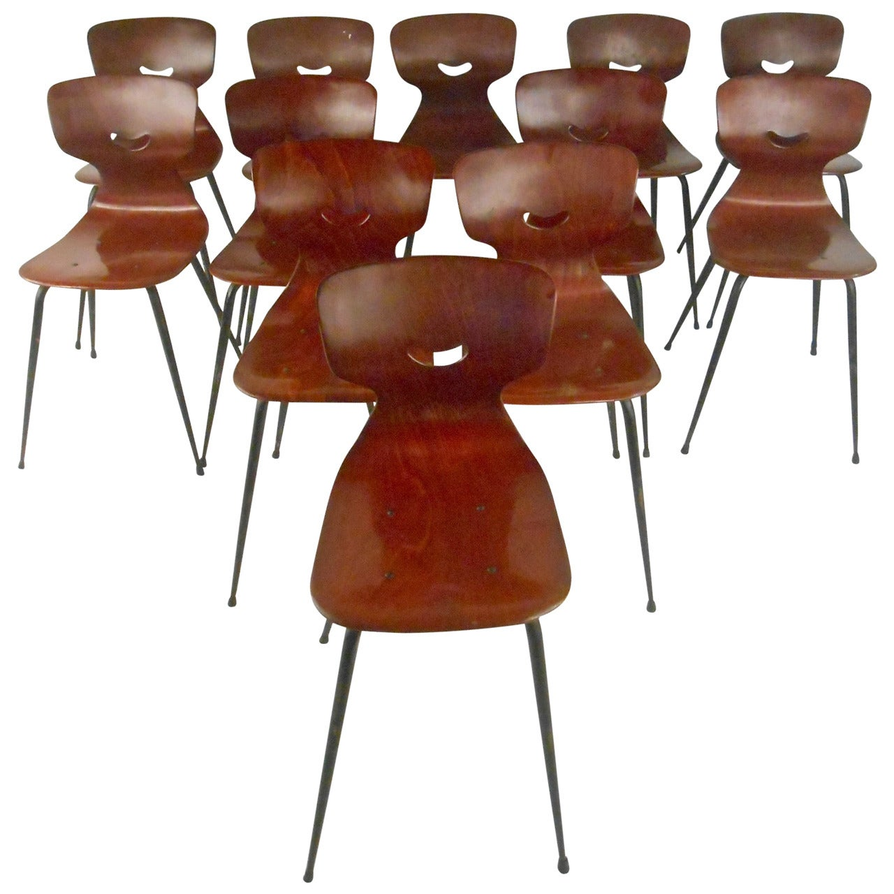 Five Adam Stegner Sculpted Dining Chairs for Pagholz Flötotto