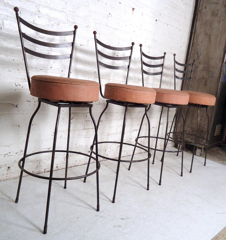 Pair of Industrial Swivel Stools In Good Condition For Sale In Brooklyn, NY