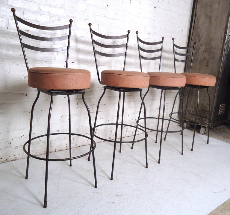 Pair of Industrial Swivel Stools For Sale 1