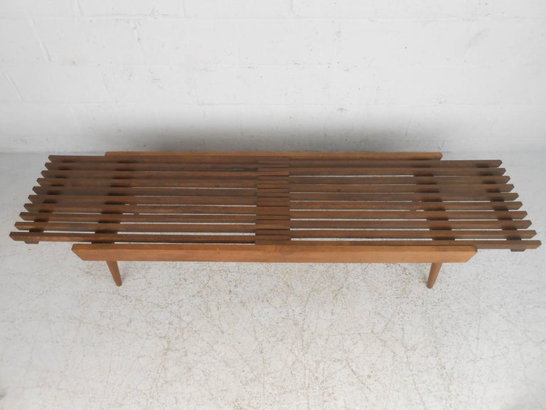 Mid-20th Century Expanding Slat Coffee Table For Sale