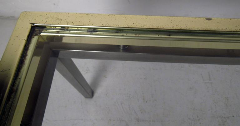 Late 20th Century Mastercraft Coffee Table with Floating Brass and Glass Top For Sale