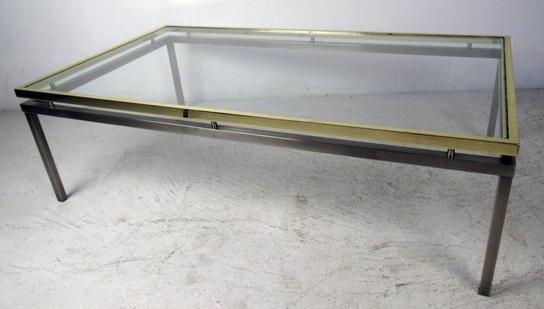 Mastercraft Coffee Table with Floating Brass and Glass Top For Sale 3