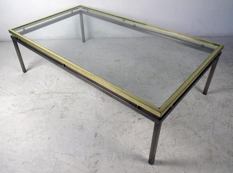 Mastercraft Coffee Table with Floating Brass and Glass Top For Sale 4