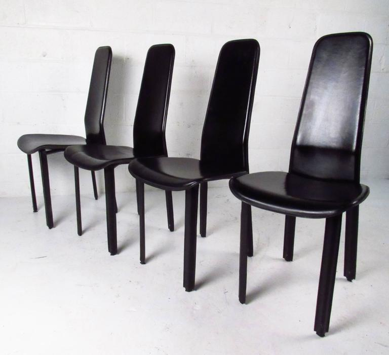 Strange Set Of Italian Leather High Back Dining Chairs By Cidue Gmtry Best Dining Table And Chair Ideas Images Gmtryco