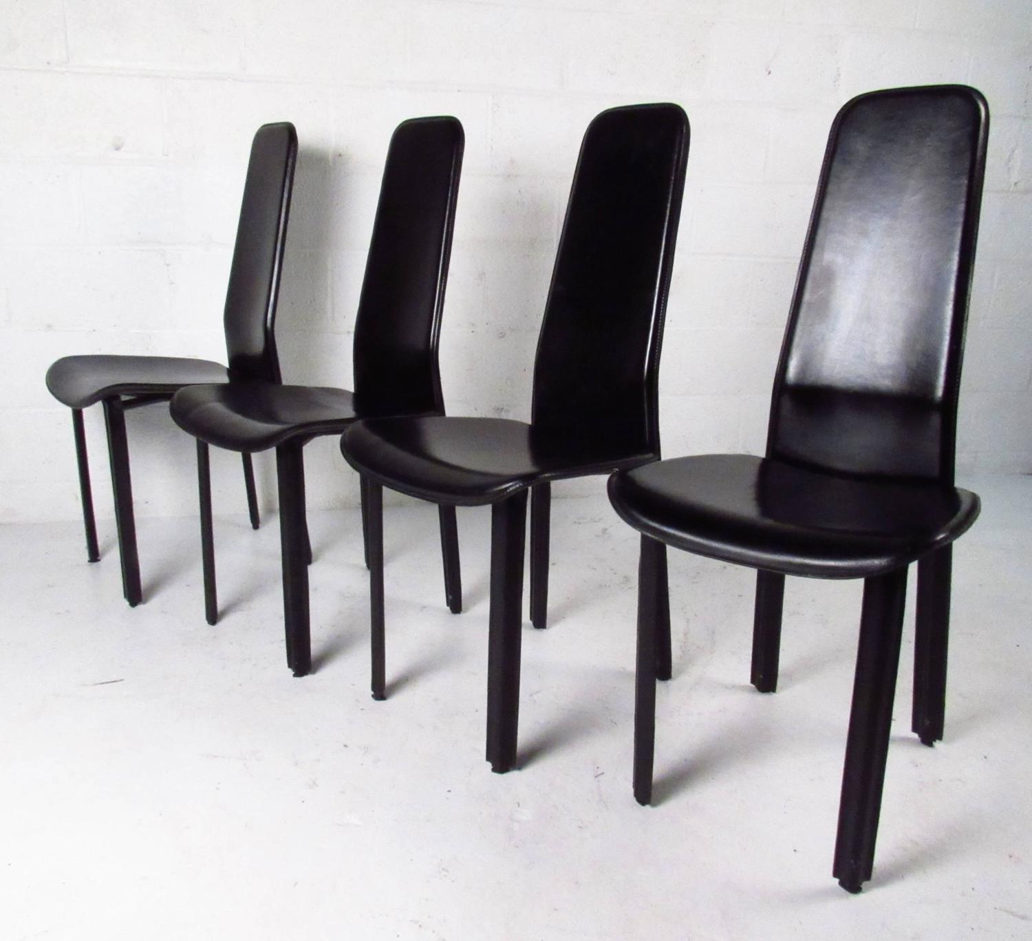 Set Of Italian Leather High Back Dining Chairs By Cidue