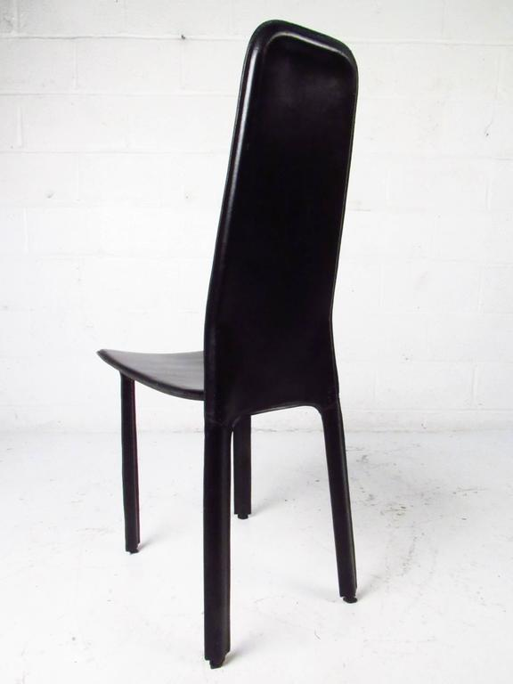 Set Of Italian Leather High Back Dining Chairs By Cidue For Sale At 1stdibs