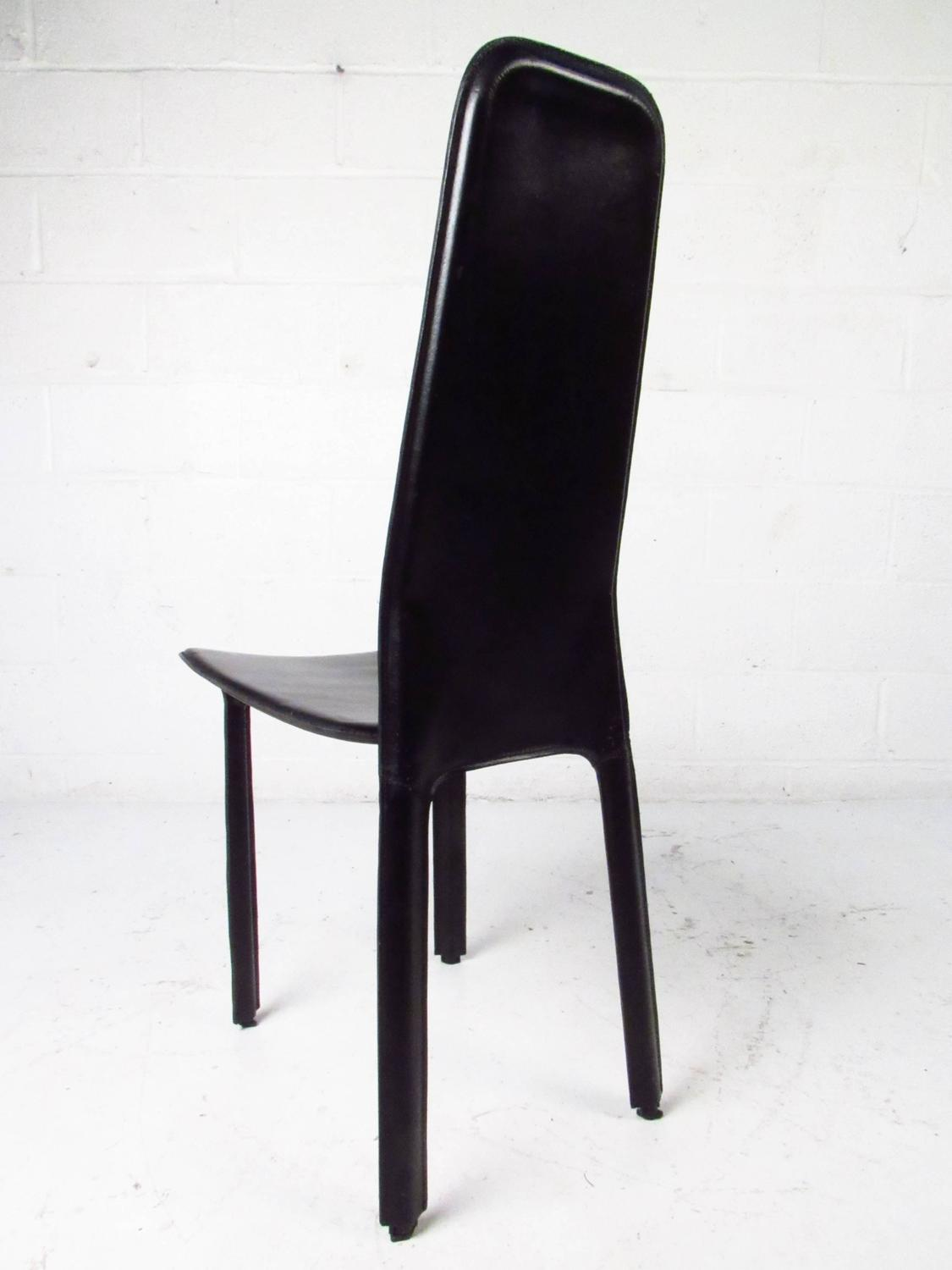 set of italian leather high back dining chairs by cidue for sale at